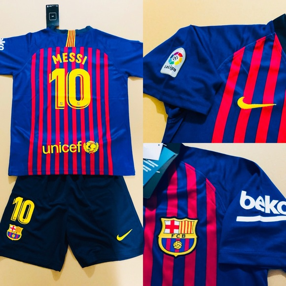 46a32a625 Home Messi  10 Barcelona Soccer Jersey Kit Kids